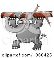 Clipart Elephant Carrying A Tree Trunk Royalty Free Vector Illustration