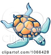 Clipart Sea Turtle Swimming Royalty Free Vector Illustration by Zooco