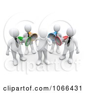 Clipart 3d White Men Shouting Through Bullhorns At A Man Royalty Free CGI Illustration