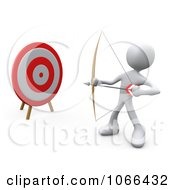 Clipart 3d White Person Archer By A Target Royalty Free CGI Illustration