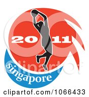 Clipart 2011 Singapore Netball Player Royalty Free Vector Illustration