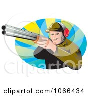 Clipart Aiming Hunter Royalty Free Vector Illustration