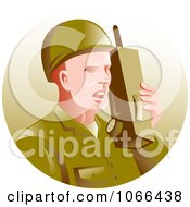 Clipart Soldier Using A Walkie Talkie Royalty Free Vector Illustration by patrimonio