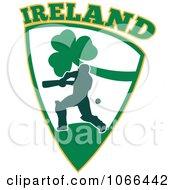 Clipart Ireland Cricket Batsman Shield Royalty Free Vector Illustration