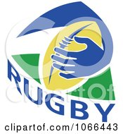 Clipart Rugby Ball And Hand Royalty Free Vector Illustration
