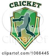 Clipart Cricket Batsman Shield Royalty Free Vector Illustration