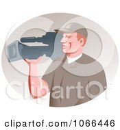 Clipart Filming Camera Man Royalty Free Vector Illustration