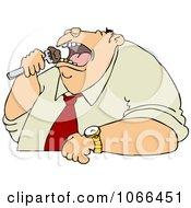 Clipart Unhealthy Man Eating Royalty Free Vector Illustration