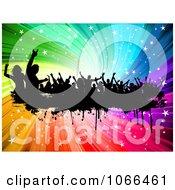 Clipart Silhouetted Grunge Dancers Over A Rainbow Swirl Royalty Free Vector Illustration