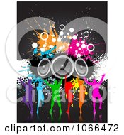 Clipart Silhouetted Colorful Dancers With Grunge And Speakers Royalty Free Vector Illustration