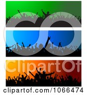 Clipart Silhouetted Crowd Website Banners Royalty Free Vector Illustration