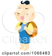 Asian Boy Carrying A Backpack