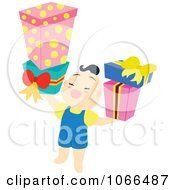 Asian Boy Holding Presents