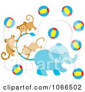 Clipart Elephant With Monkeys And Balls Royalty Free Vector Illustration