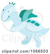 Clipart Blue Winged Dinosaur Royalty Free Vector Illustration by Cherie Reve