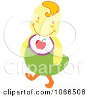 Clipart Chick Wearing A Bib Royalty Free Vector Illustration