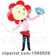 Flower Head Woman With A Butterfly
