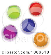 Clipart Shiny Colorful Paint Buckets From Above Royalty Free Vector Illustration