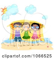 Clipart Stick Kids Under A Shade Blanket Royalty Free Vector Illustration