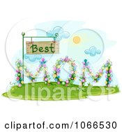 Clipart Floral Best Mom Sign Royalty Free Vector Illustration