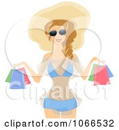 Clipart Blond Summer Woman Shopping Royalty Free Vector Illustration