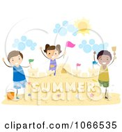 Stick Kids Celebrating By Their Sand Castle