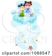 Clipart Kids Fishing For Sea Shells On A Cloud Royalty Free Vector Illustration