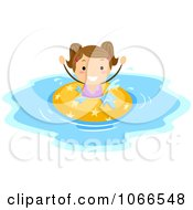 Clipart Girl Playing In An Inner Tube Royalty Free Vector Illustration