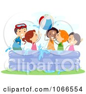 Clipart Stick Kids Playing In A Kiddie Pool Royalty Free Vector Illustration