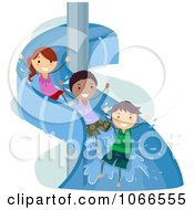 Clipart Stick Kids On A Water Slide Royalty Free Vector Illustration by BNP Design Studio