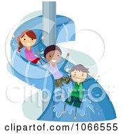 Stick Kids On A Water Slide