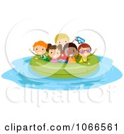 Clipart Stick Kids In A Large Inner Tube Royalty Free Vector Illustration