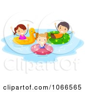 Clipart Stick Kids Floating In Inner Tubes Royalty Free Vector Illustration