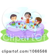 Clipart Stick Boys Throwing Water Balloons In A Kiddie Pool Royalty Free Vector Illustration by BNP Design Studio