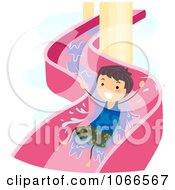Clipart Boy On A Water Slide Royalty Free Vector Illustration by BNP Design Studio