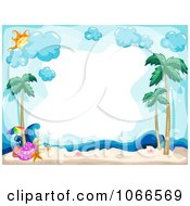 Clipart Horizontal Tropical Beach Frame With Shells Royalty Free Vector Illustration