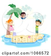 Clipart Stick Kids With A Blank Sign On An Island Royalty Free Vector Illustration