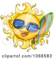 Clipart Summer Sun Carrying A Surf Board Royalty Free Vector Illustration by BNP Design Studio