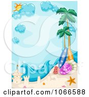 Clipart Vertical Tropical Beach Frame With A Sand Castle Royalty Free Vector Illustration by BNP Design Studio