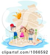 Clipart Stick Kids With A Giant Sand Castle Island Royalty Free Vector Illustration