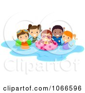 Clipart Stick Kids Playing In A Pool Royalty Free Vector Illustration