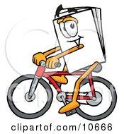 Paper Mascot Cartoon Character Riding A Bicycle