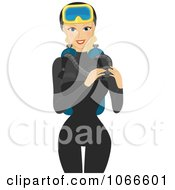 Clipart Blond Summer Woman In A Scuba Diving Suit Royalty Free Vector Illustration