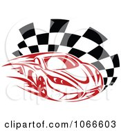 Clipart Red Race Car And Checkered Flag Royalty Free Vector Illustration by Vector Tradition SM