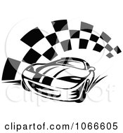 Clipart Black And White Race Car And Checkered Flag 2 Royalty Free Vector Illustration