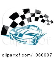Clipart Blue Race Car And Checkered Flag Royalty Free Vector Illustration by Vector Tradition SM