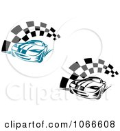 Clipart Race Cars And Checkered Flags 1 Royalty Free Vector Illustration