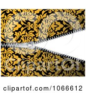 Clipart Yellow Damask Pattern And Revealing Zipper Royalty Free Vector Illustration