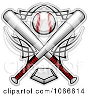 Clipart Crossed Bats And A Baseball Over A Home Plate Royalty Free Vector Illustration