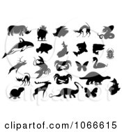 Clipart Silhouetted Animal Collage Royalty Free Vector Illustration by Vector Tradition SM